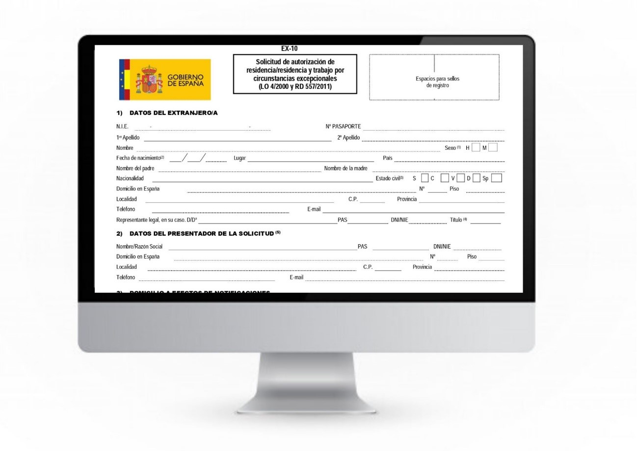 formulario EX-10 en nova extranjería