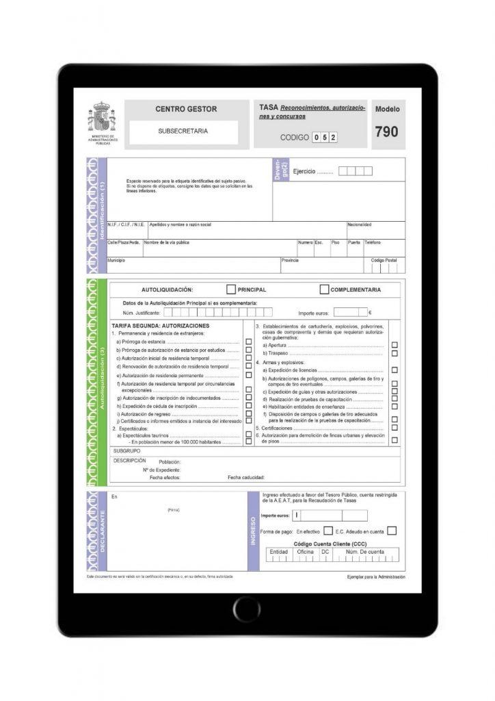 Modelo 790, código 052, para autorización de residencia en Novaextranjería